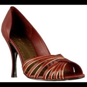 BCBG Brown/Gold Heel Sandals 10